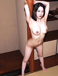 Unbelievable oriental lass looks excited